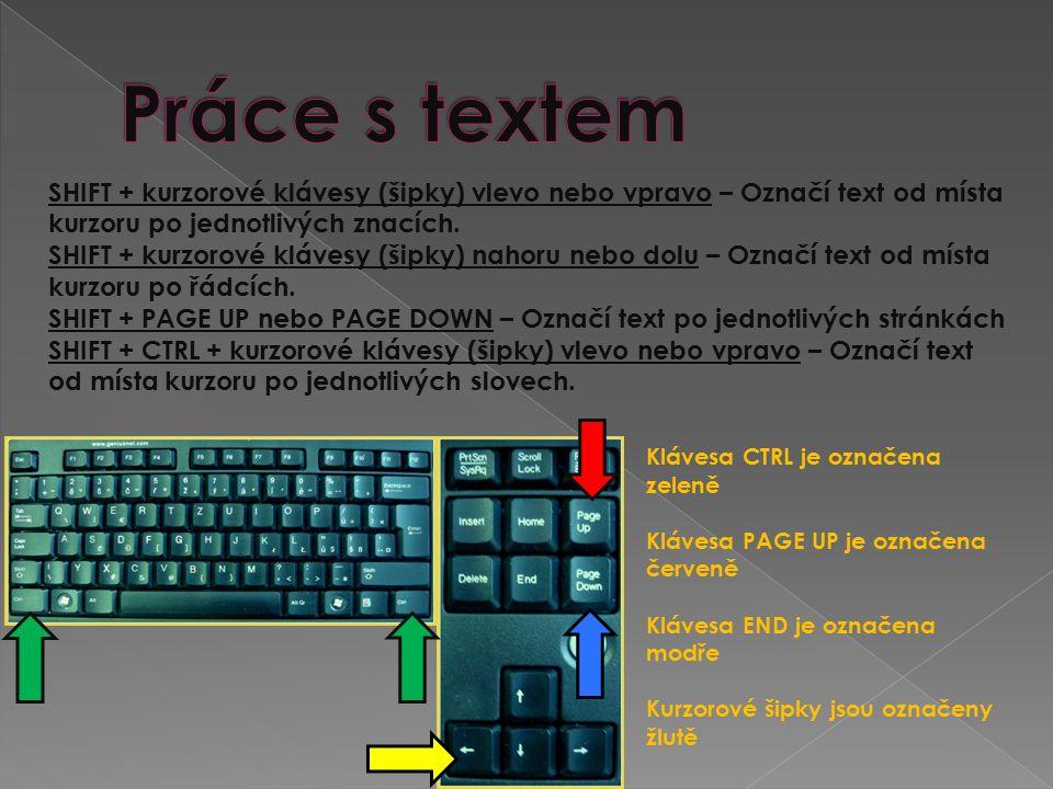 SHIFT + kurzorové klávesy (šipky) vlevo nebo vpravo – Označí text od místa kurzoru po jednotlivých znacích. SHIFT + kurzorové klávesy (šipky) nahoru n