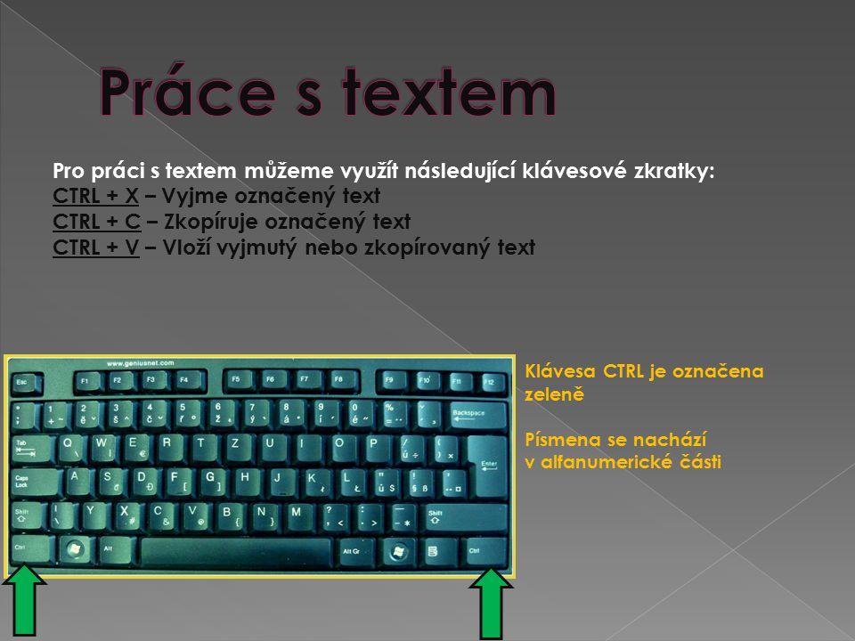 Pro práci s textem můžeme využít následující klávesové zkratky: CTRL + X – Vyjme označený text CTRL + C – Zkopíruje označený text CTRL + V – Vloží vyjmutý nebo zkopírovaný text Klávesa CTRL je označena zeleně Písmena se nachází v alfanumerické části