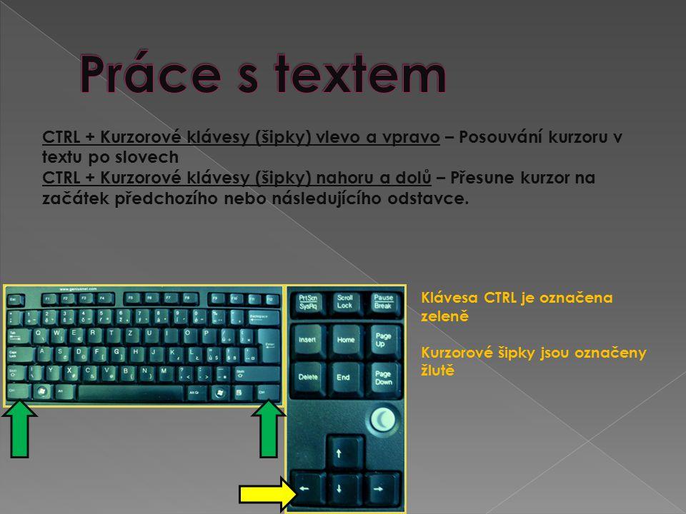 CTRL + Kurzorové klávesy (šipky) vlevo a vpravo – Posouvání kurzoru v textu po slovech CTRL + Kurzorové klávesy (šipky) nahoru a dolů – Přesune kurzor