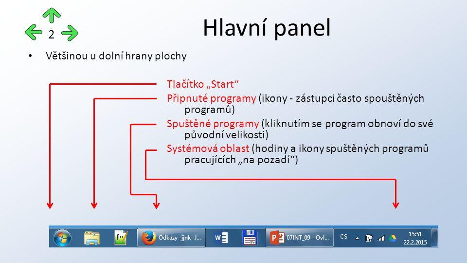 """Většinou u dolní hrany plochy Tlačítko """"Start Připnuté programy (ikony - zástupci často spouštěných programů) Spuštěné programy (kliknutím se program obnoví do své původní velikosti) Systémová oblast (hodiny a ikony spuštěných programů pracujících """"na pozadí ) Hlavní panel 2"""