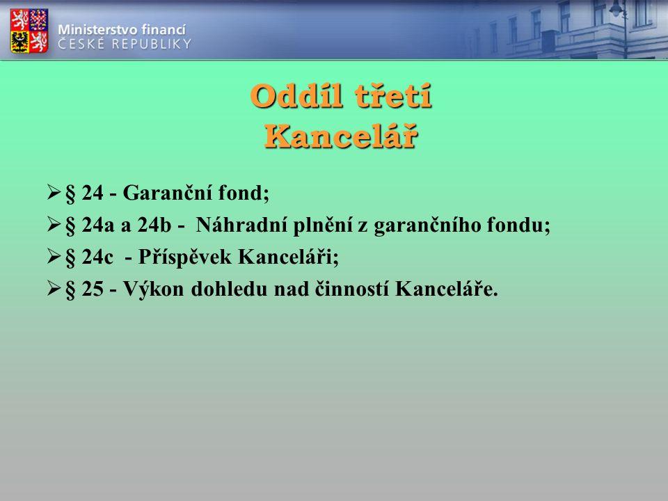 Oddíl třetí Kancelář  § 24 - Garanční fond;  § 24a a 24b - Náhradní plnění z garančního fondu;  § 24c - Příspěvek Kanceláři;  § 25 - Výkon dohledu nad činností Kanceláře.