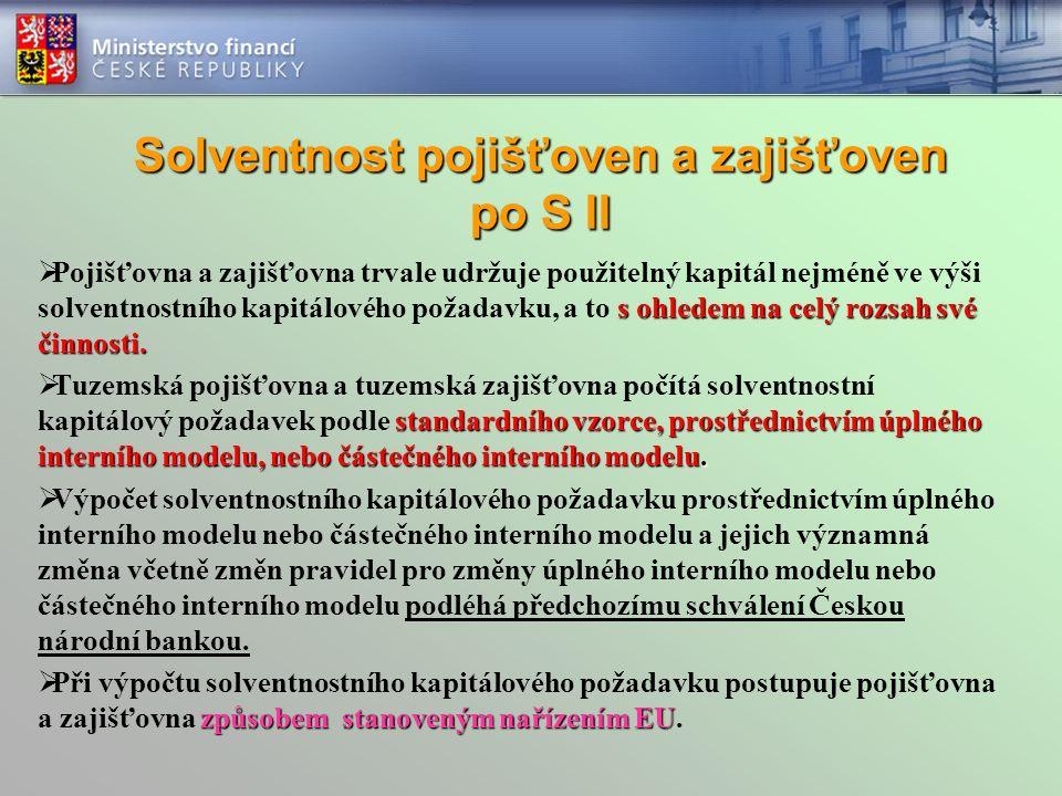 Solventnost pojišťoven a zajišťoven po S II s ohledem na celý rozsah své činnosti.