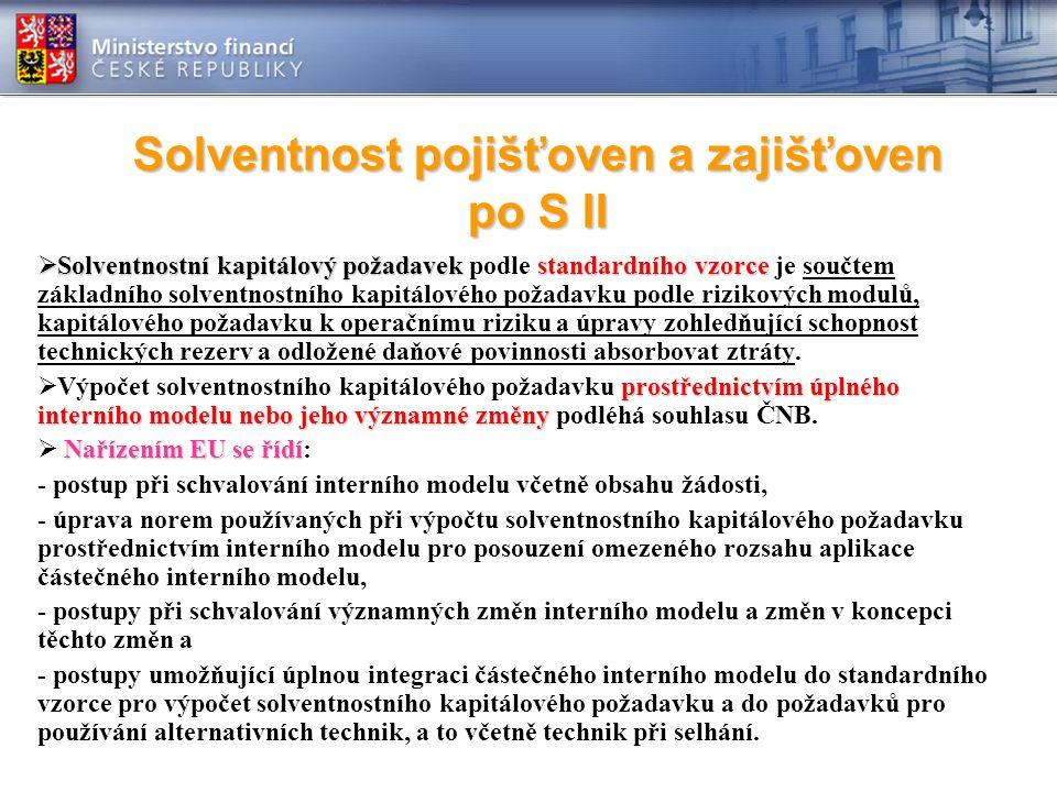 Solventnost pojišťoven a zajišťoven po S II  Solventnostní kapitálový požadavekstandardního vzorce  Solventnostní kapitálový požadavek podle standardního vzorce je součtem základního solventnostního kapitálového požadavku podle rizikových modulů, kapitálového požadavku k operačnímu riziku a úpravy zohledňující schopnost technických rezerv a odložené daňové povinnosti absorbovat ztráty.