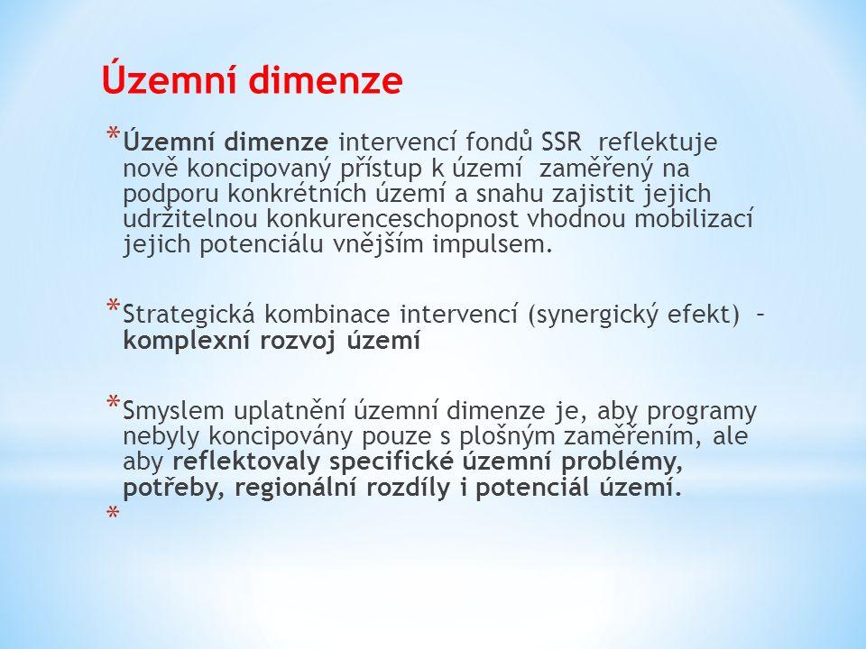 Územní dimenze * Územní dimenze intervencí fondů SSR reflektuje nově koncipovaný přístup k území zaměřený na podporu konkrétních území a snahu zajisti