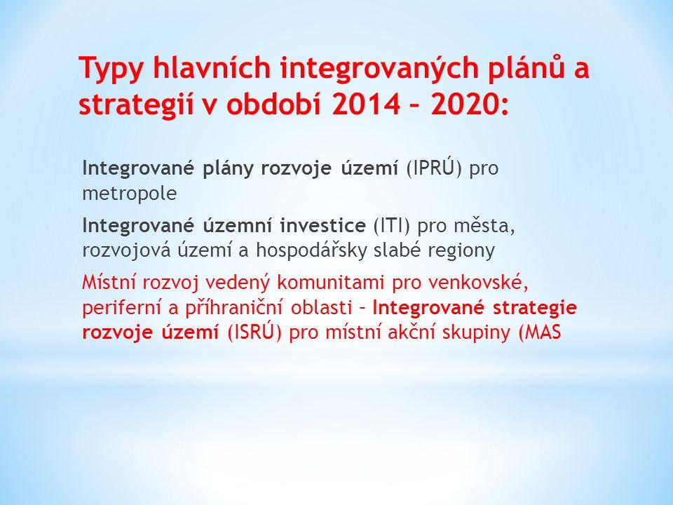 Typy hlavních integrovaných plánů a strategií v období 2014 – 2020: Integrované plány rozvoje území (IPRÚ) pro metropole Integrované územní investice
