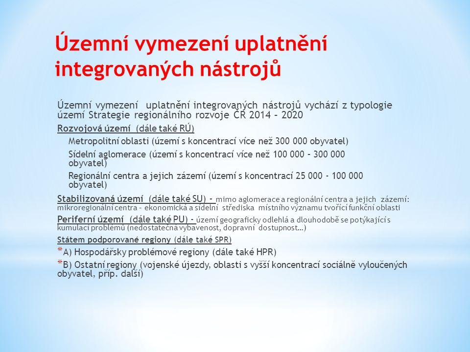 Územní vymezení uplatnění integrovaných nástrojů Územní vymezení uplatnění integrovaných nástrojů vychází z typologie území Strategie regionálního roz