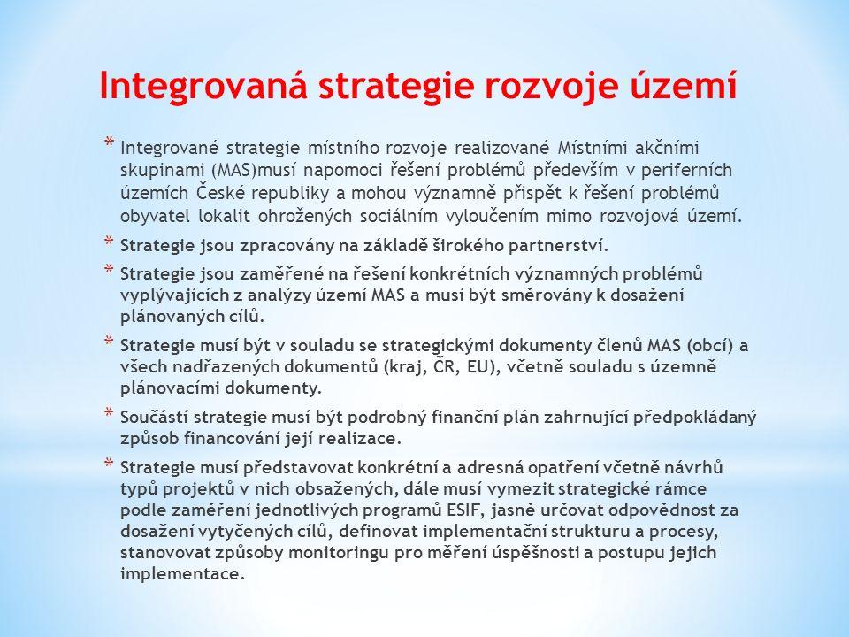 * Integrované strategie místního rozvoje realizované Místními akčními skupinami (MAS)musí napomoci řešení problémů především v periferních územích Čes