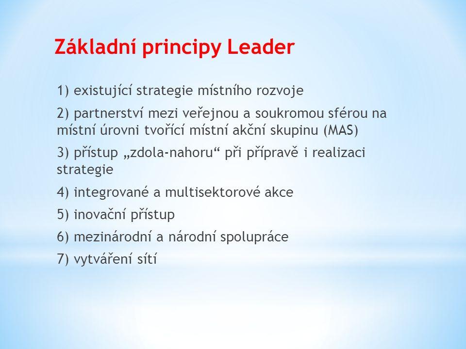 Základní principy Leader 1) existující strategie místního rozvoje 2) partnerství mezi veřejnou a soukromou sférou na místní úrovni tvořící místní akčn