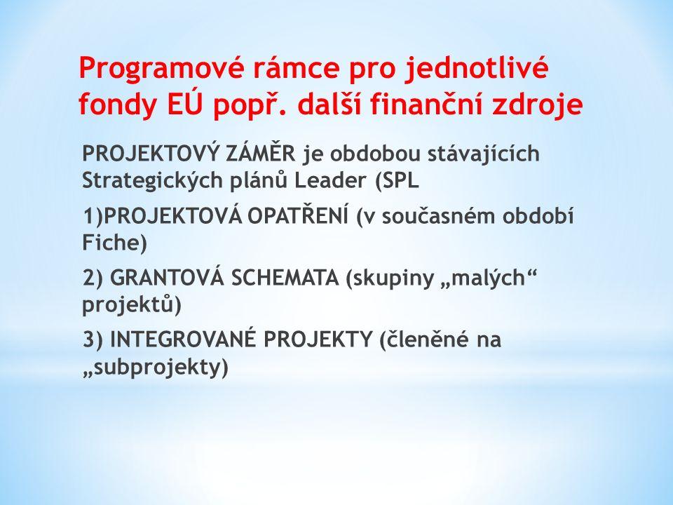 PROJEKTOVÝ ZÁMĚR je obdobou stávajících Strategických plánů Leader (SPL 1)PROJEKTOVÁ OPATŘENÍ (v současném období Fiche) 2) GRANTOVÁ SCHEMATA (skupiny