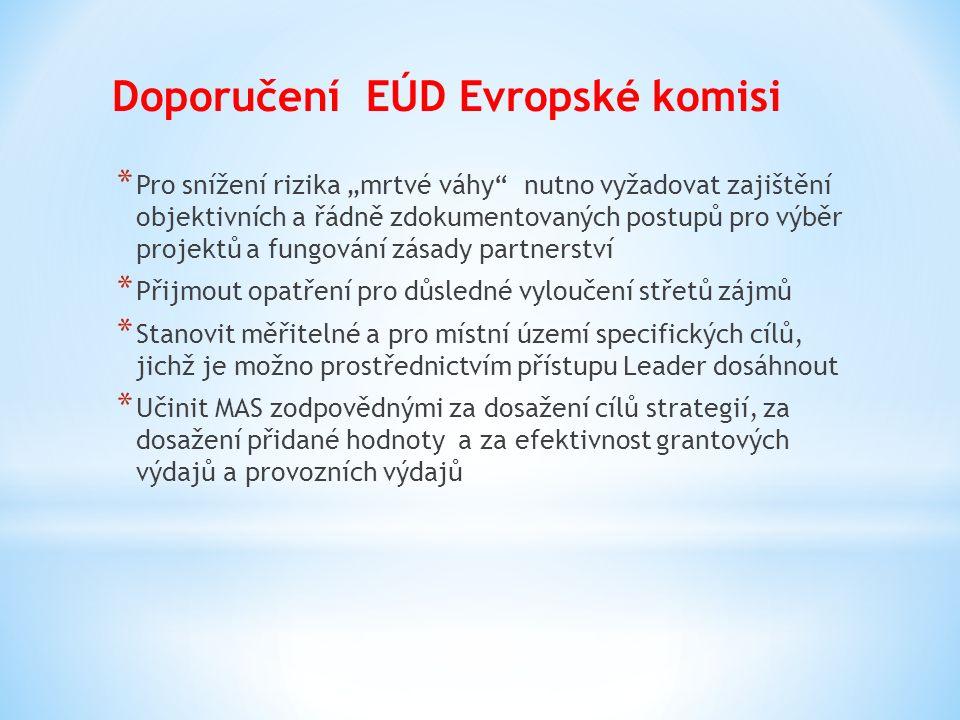 """Doporučení EÚD Evropské komisi * Pro snížení rizika """"mrtvé váhy"""" nutno vyžadovat zajištění objektivních a řádně zdokumentovaných postupů pro výběr pro"""
