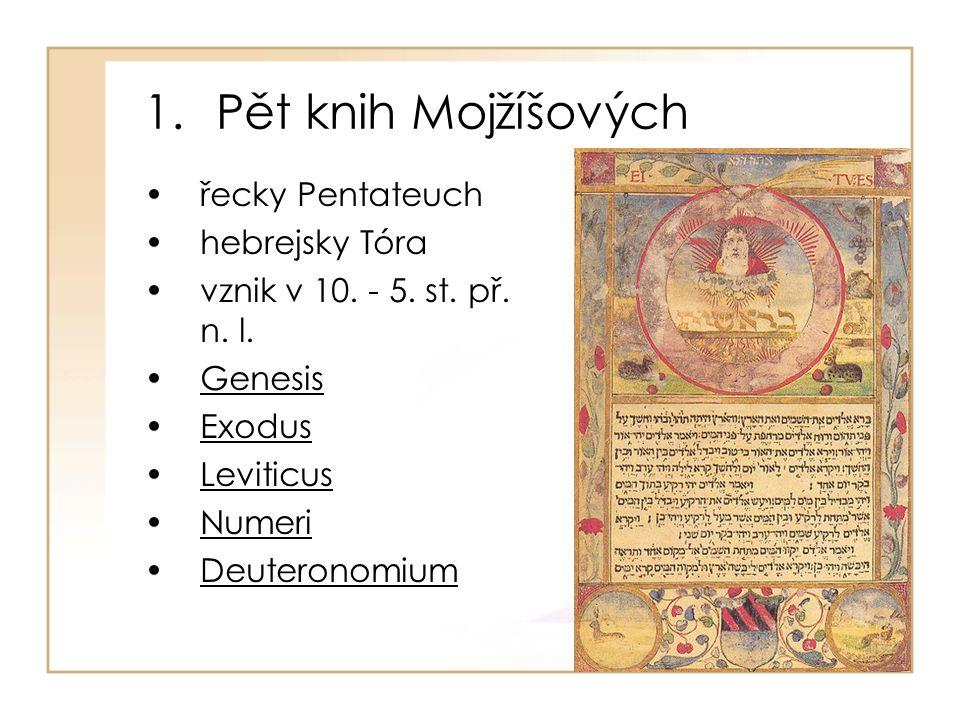 1.Pět knih Mojžíšových řecky Pentateuch hebrejsky Tóra vznik v 10.