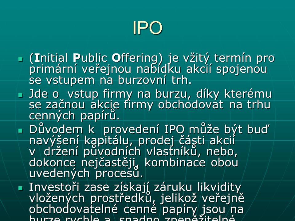 IPO (Initial Public Offering) je vžitý termín pro primární veřejnou nabídku akcií spojenou se vstupem na burzovní trh.