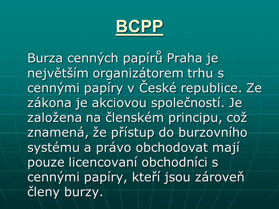 BCPP Burza cenných papírů Praha je největším organizátorem trhu s cennými papíry v České republice.