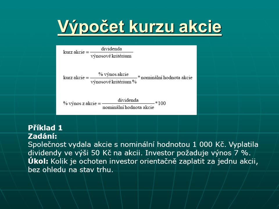 Výpočet kurzu akcie Příklad 1 Zadání: Společnost vydala akcie s nominální hodnotou 1 000 Kč.