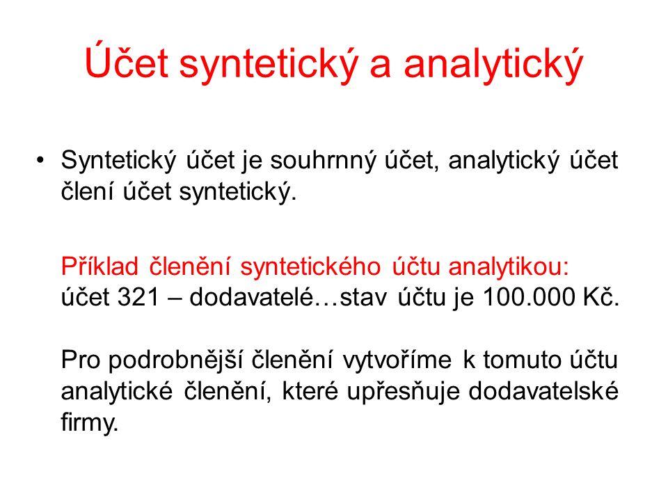 Účet syntetický a analytický Syntetický účet je souhrnný účet, analytický účet člení účet syntetický. Příklad členění syntetického účtu analytikou: úč