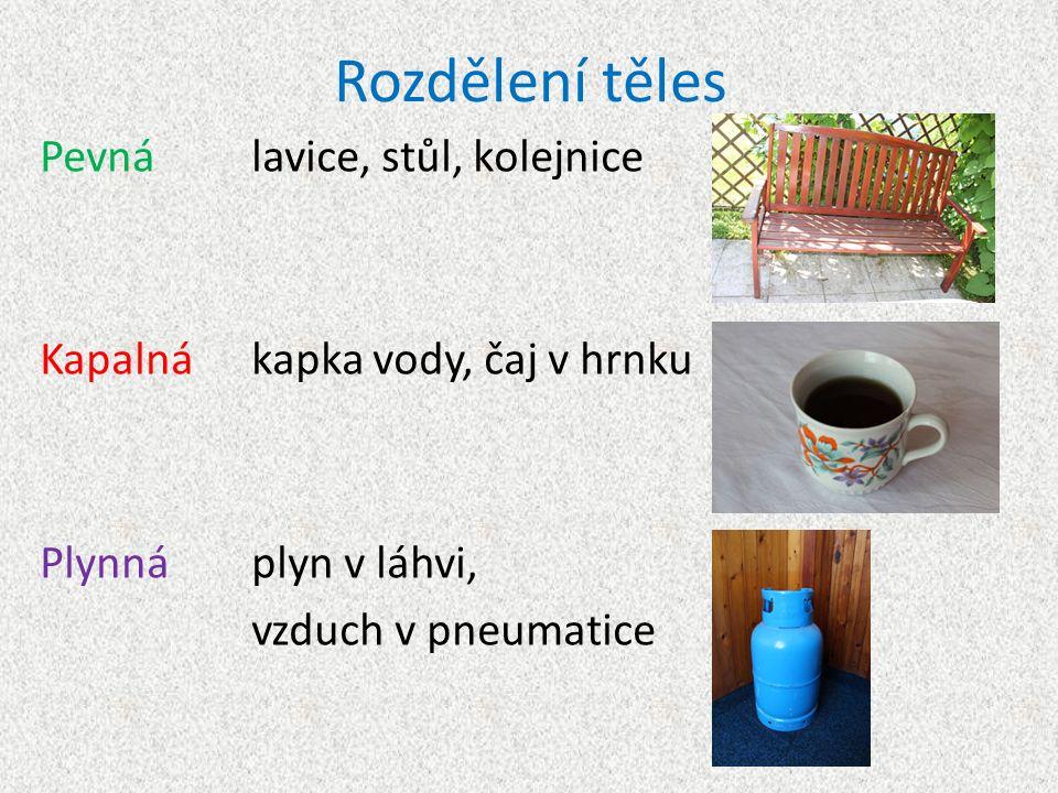 Rozdělení těles Pevnálavice, stůl, kolejnice Kapalnákapka vody, čaj v hrnku Plynnáplyn v láhvi, vzduch v pneumatice