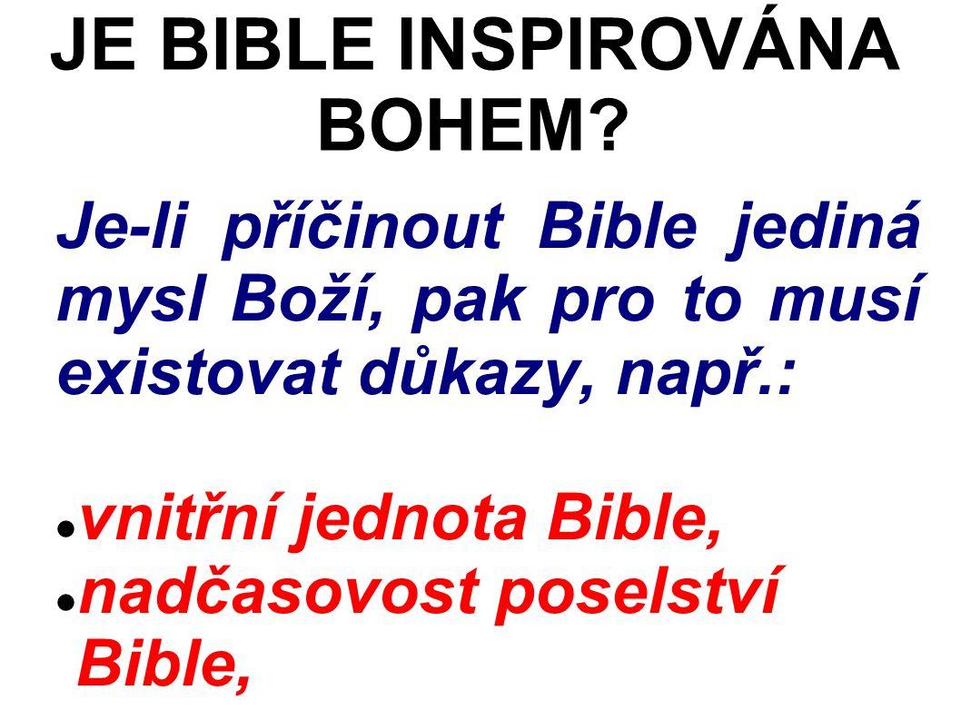 Je-li příčinout Bible jediná mysl Boží, pak pro to musí existovat důkazy, např.: vnitřní jednota Bible, nadčasovost poselství Bible, JE BIBLE INSPIROVÁNA BOHEM