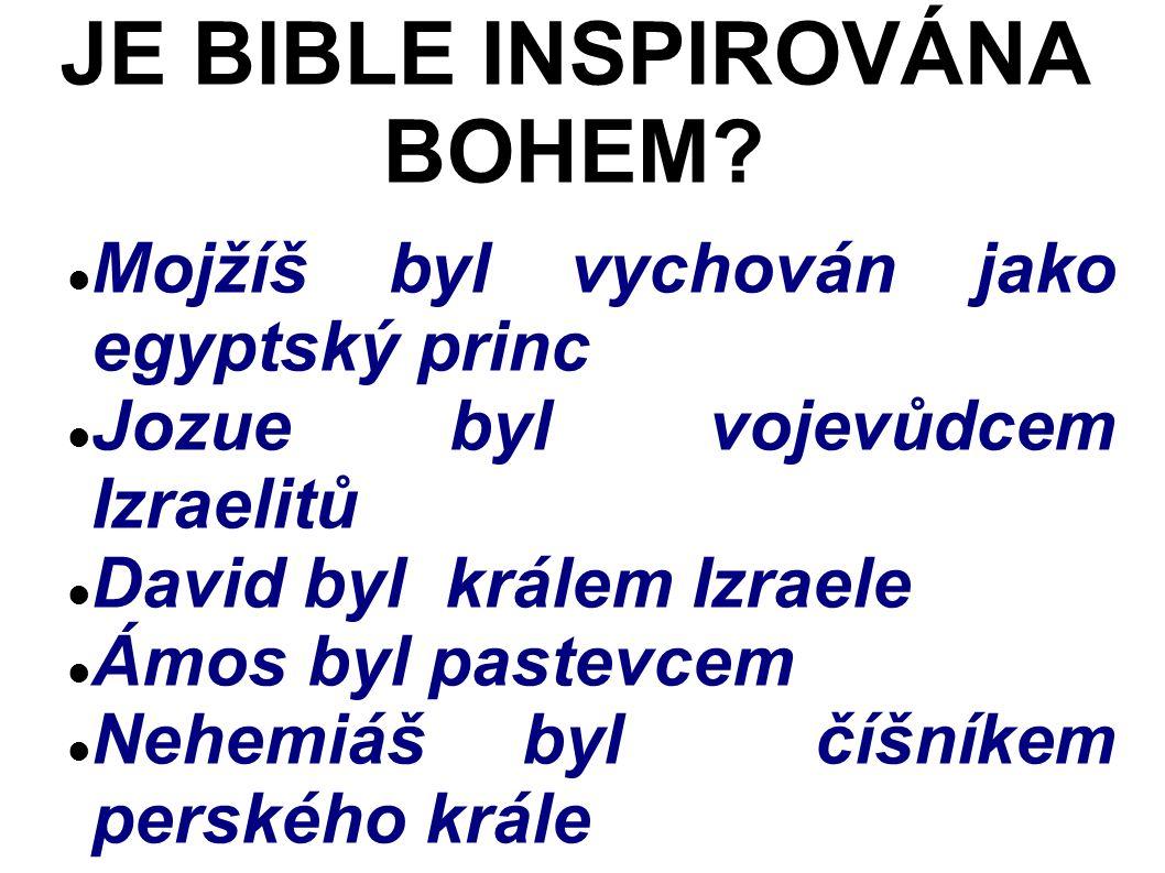 Mojžíš byl vychován jako egyptský princ Jozue byl vojevůdcem Izraelitů David byl králem Izraele Ámos byl pastevcem Nehemiáš byl číšníkem perského krále JE BIBLE INSPIROVÁNA BOHEM