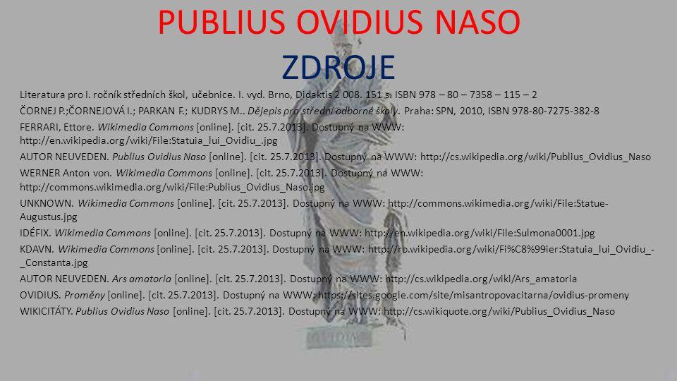 PUBLIUS OVIDIUS NASO ZDROJE Literatura pro I. ročník středních škol, učebnice.