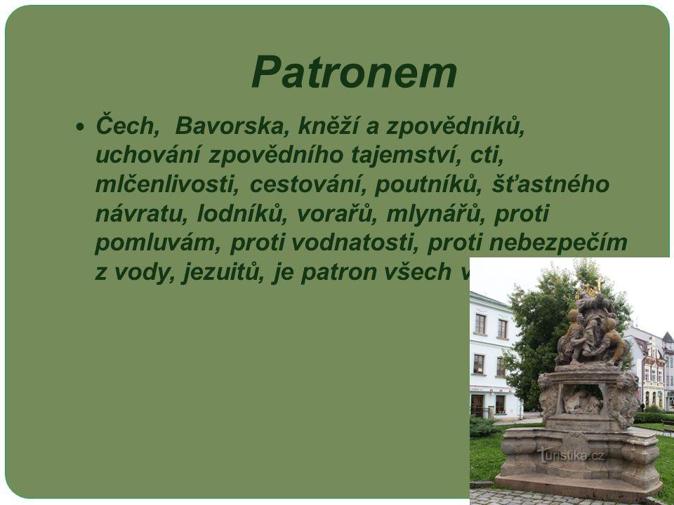 Patronem Čech, Bavorska, kněží a zpovědníků, uchování zpovědního tajemství, cti, mlčenlivosti, cestování, poutníků, šťastného návratu, lodníků, vorařů, mlynářů, proti pomluvám, proti vodnatosti, proti nebezpečím z vody, jezuitů, je patron všech vod