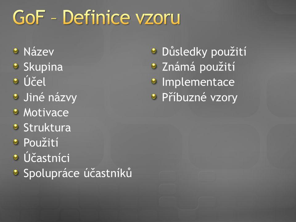 Název Skupina Účel Jiné názvy Motivace Struktura Použití Účastníci Spolupráce účastníků Důsledky použití Známá použití Implementace Příbuzné vzory