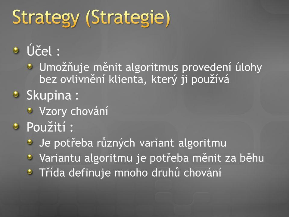 Účel : Umožňuje měnit algoritmus provedení úlohy bez ovlivnění klienta, který ji používá Skupina : Vzory chování Použití : Je potřeba různých variant algoritmu Variantu algoritmu je potřeba měnit za běhu Třída definuje mnoho druhů chování