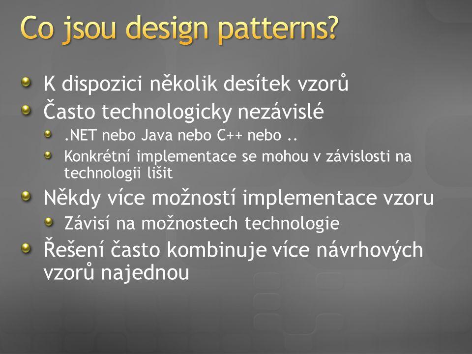 K dispozici několik desítek vzorů Často technologicky nezávislé.NET nebo Java nebo C++ nebo..
