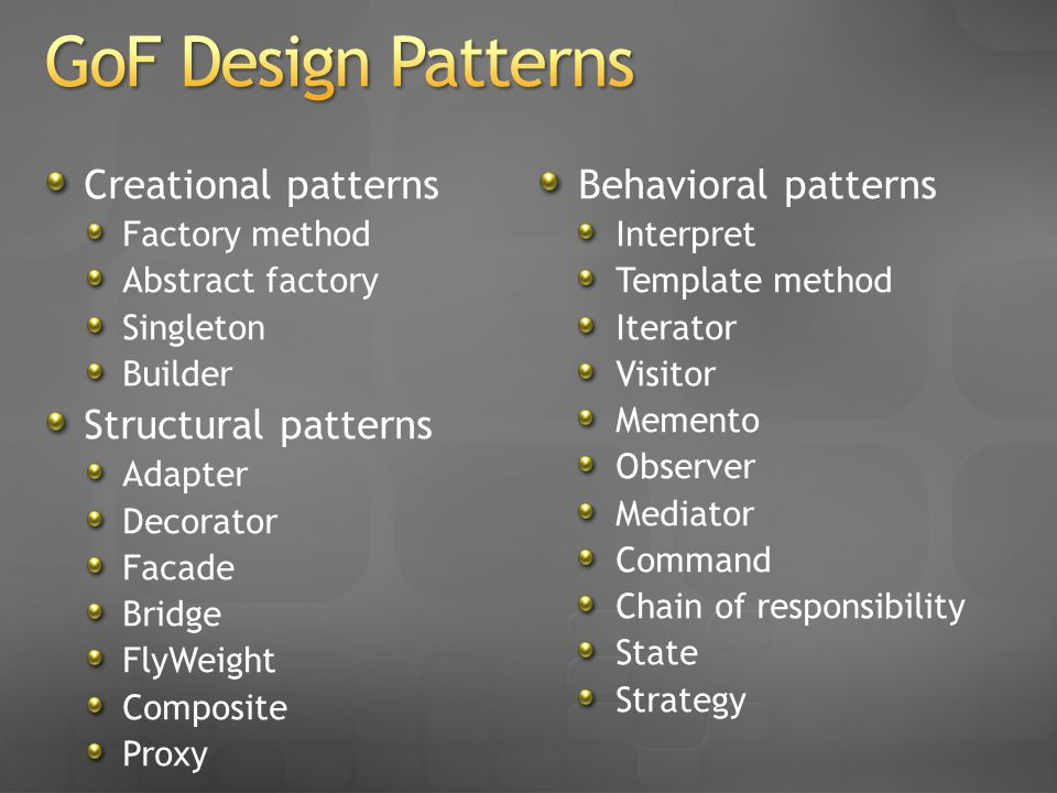 Creational patterns Factory method Abstract factory Singleton Builder Structural patterns Adapter Decorator Facade Bridge FlyWeight Composite Proxy Be