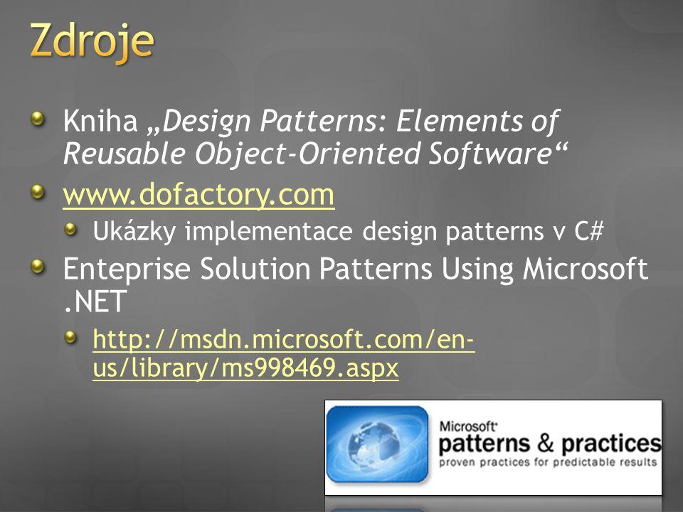 "Kniha ""Design Patterns: Elements of Reusable Object-Oriented Software"" www.dofactory.com Ukázky implementace design patterns v C# Enteprise Solution P"