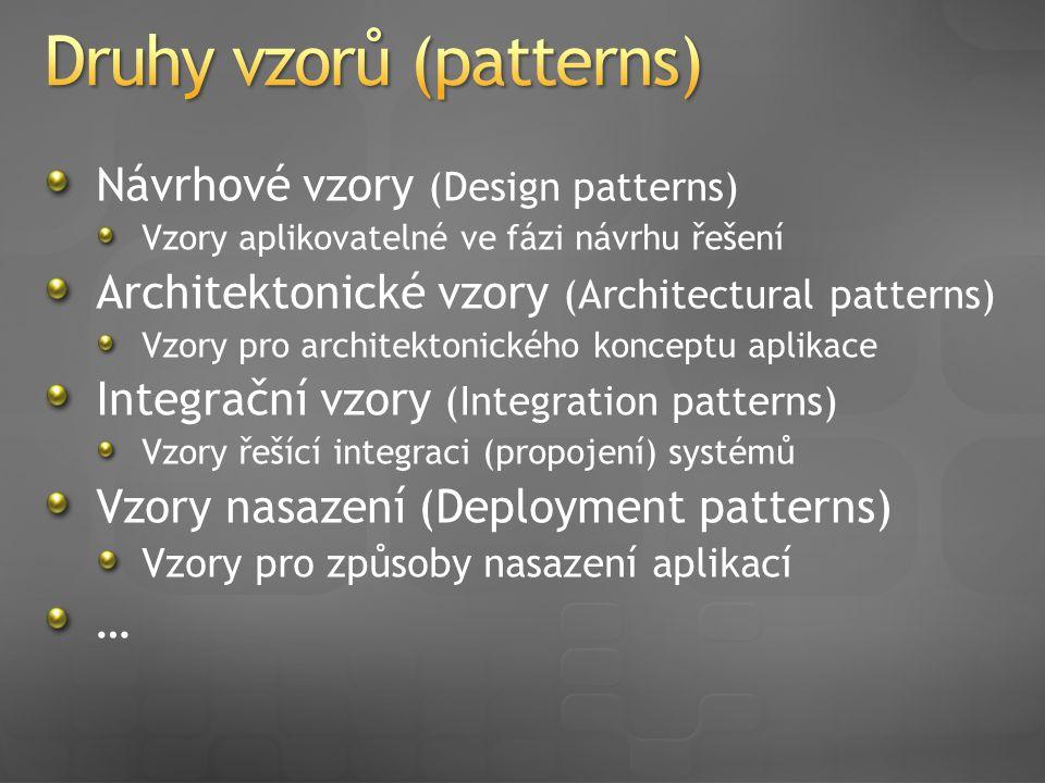 Návrhové vzory (Design patterns) Vzory aplikovatelné ve fázi návrhu řešení Architektonické vzory (Architectural patterns) Vzory pro architektonického konceptu aplikace Integrační vzory (Integration patterns) Vzory řešící integraci (propojení) systémů Vzory nasazení (Deployment patterns) Vzory pro způsoby nasazení aplikací …