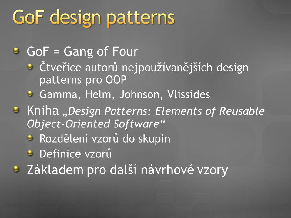 """GoF = Gang of Four Čtveřice autorů nejpoužívanějších design patterns pro OOP Gamma, Helm, Johnson, Vlissides Kniha """"Design Patterns: Elements of Reusable Object-Oriented Software Rozdělení vzorů do skupin Definice vzorů Základem pro další návrhové vzory"""