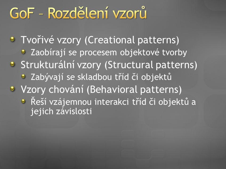 Tvořivé vzory (Creational patterns) Zaobírají se procesem objektové tvorby Strukturální vzory (Structural patterns) Zabývají se skladbou tříd či objektů Vzory chování (Behavioral patterns) Řeší vzájemnou interakci tříd či objektů a jejich závislosti