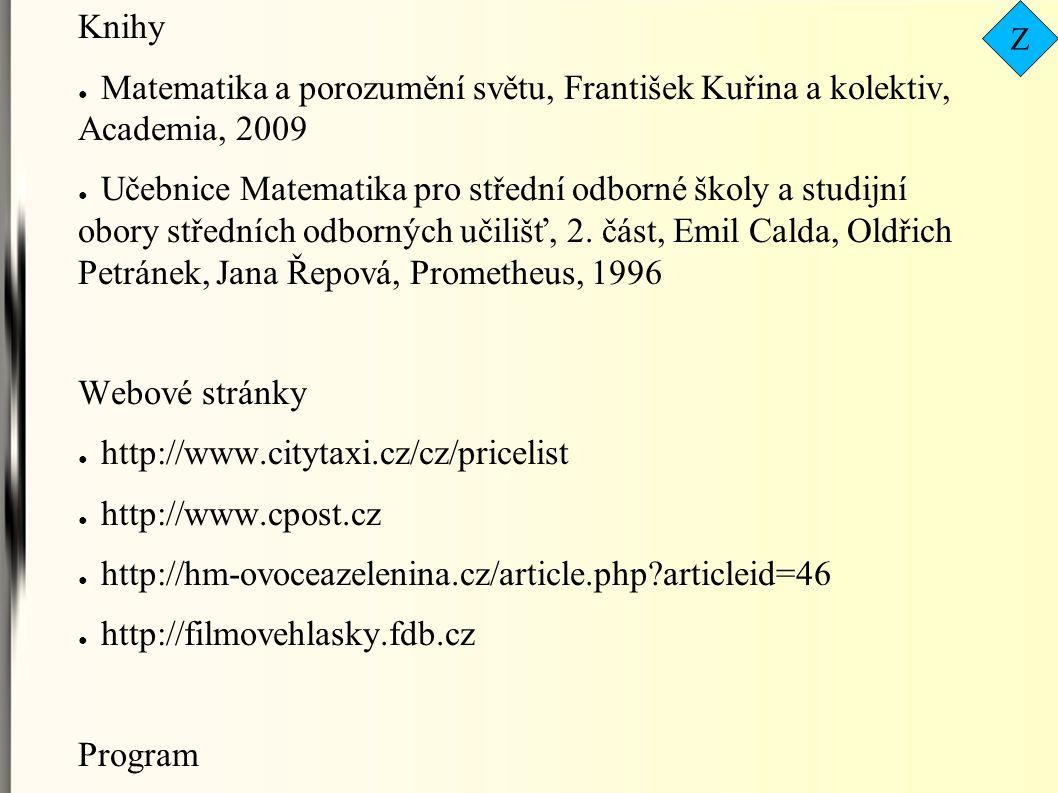Zdroje: Knihy ● Matematika a porozumění světu, František Kuřina a kolektiv, Academia, 2009 ● Učebnice Matematika pro střední odborné školy a studijní obory středních odborných učilišť, 2.