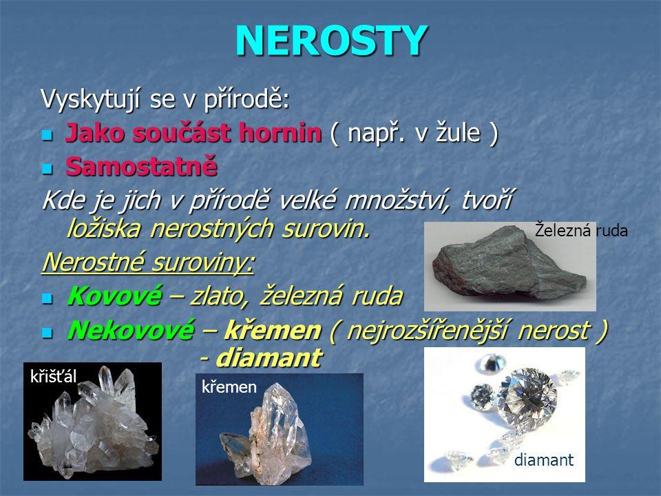 NEROSTY Vyskytují se v přírodě: Jako součást hornin ( např. v žule ) Jako součást hornin ( např. v žule ) Samostatně Samostatně Kde je jich v přírodě