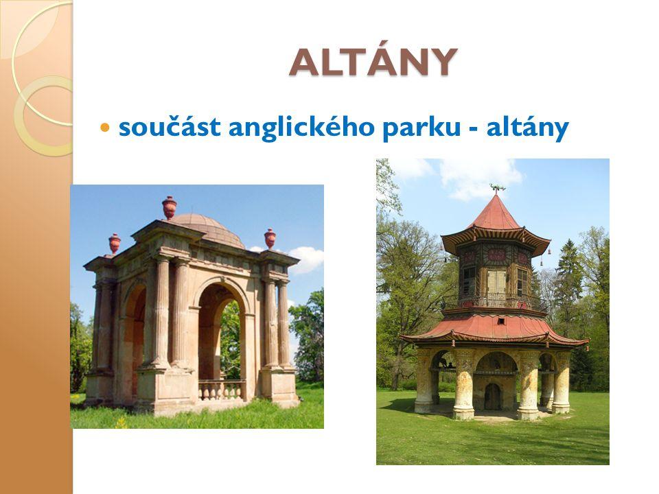 ALTÁNY součást anglického parku - altány