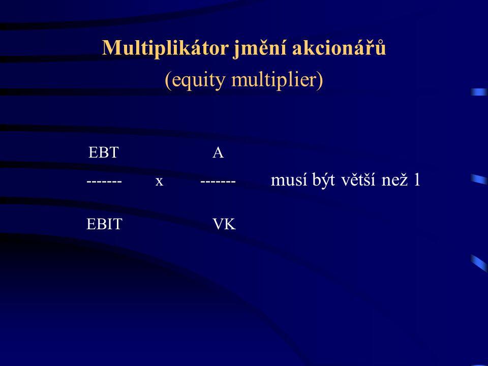 Multiplikátor jmění akcionářů (equity multiplier) EBT A ------- x ------- musí být větší než 1 EBIT VK