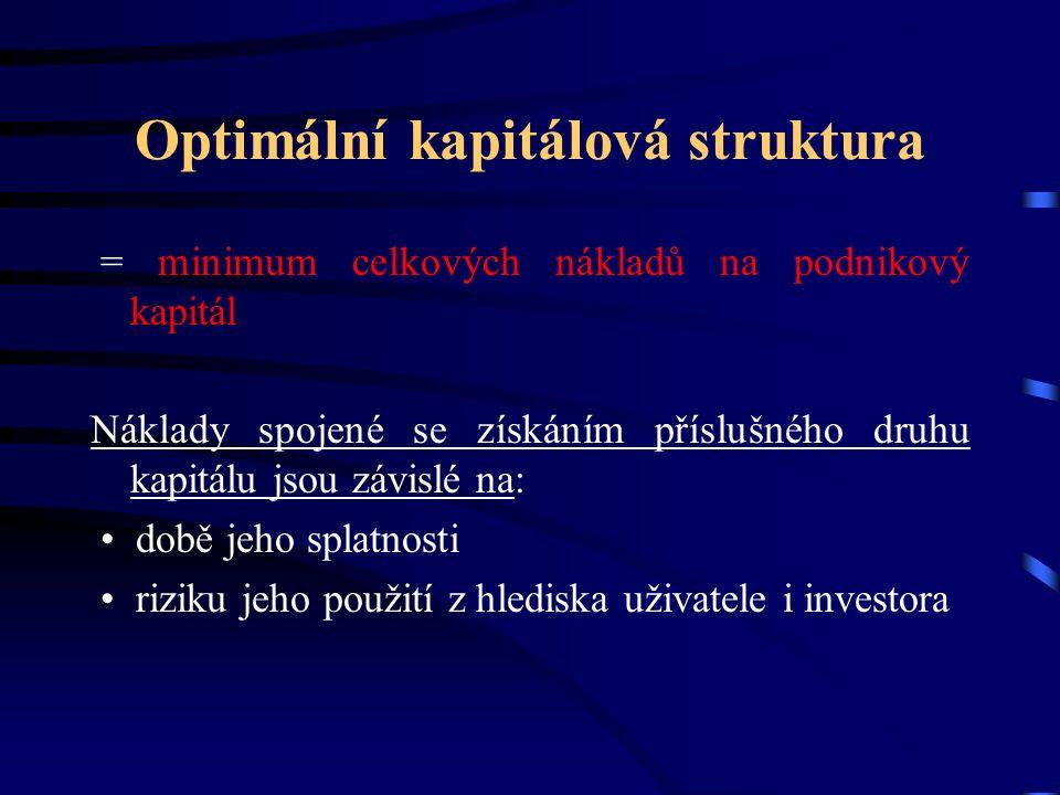 Optimální kapitálová struktura = minimum celkových nákladů na podnikový kapitál Náklady spojené se získáním příslušného druhu kapitálu jsou závislé na: době jeho splatnosti riziku jeho použití z hlediska uživatele i investora
