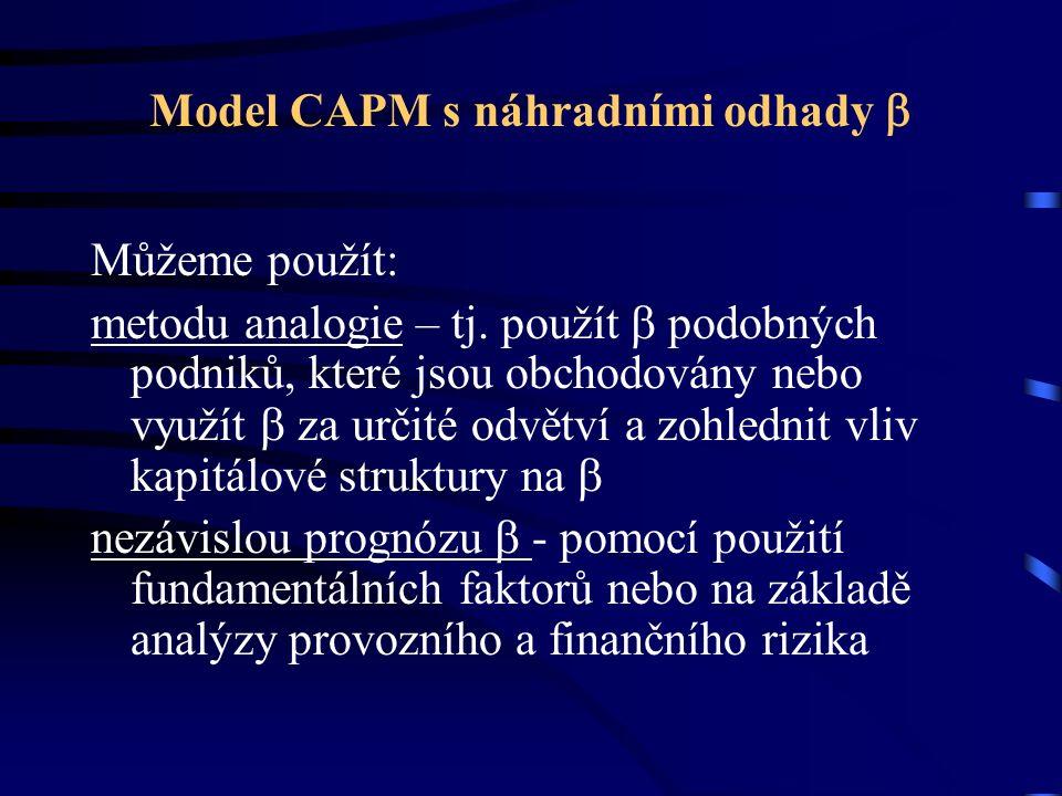 Model CAPM s náhradními odhady  Můžeme použít: metodu analogie – tj. použít  podobných podniků, které jsou obchodovány nebo využít  za určité odvět