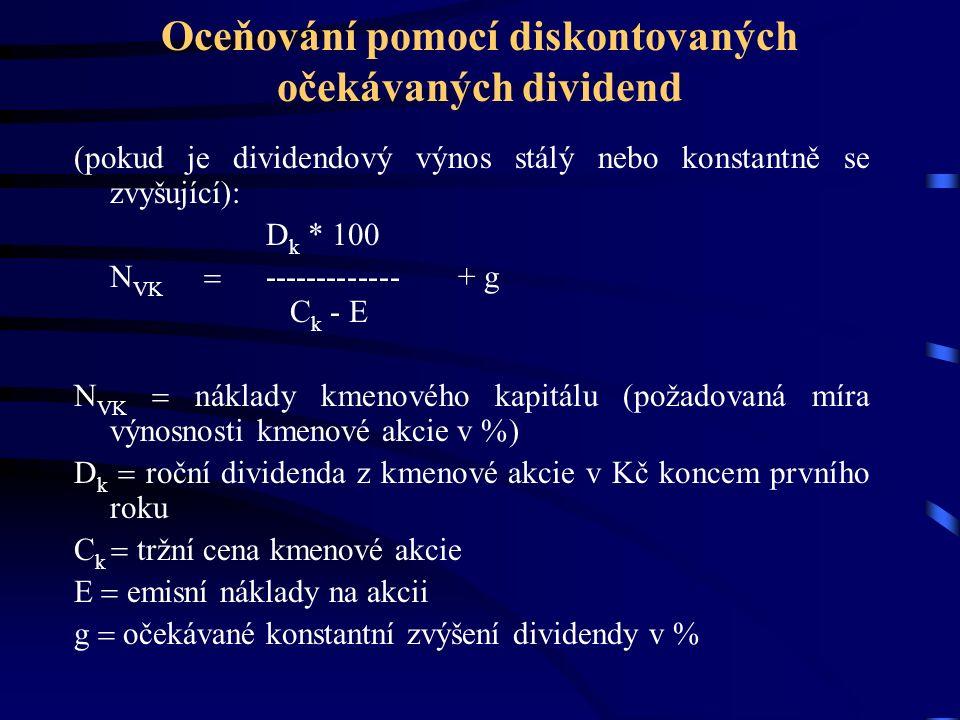 Oceňování pomocí diskontovaných očekávaných dividend (pokud je dividendový výnos stálý nebo konstantně se zvyšující): D k * 100 N VK  ------------- +