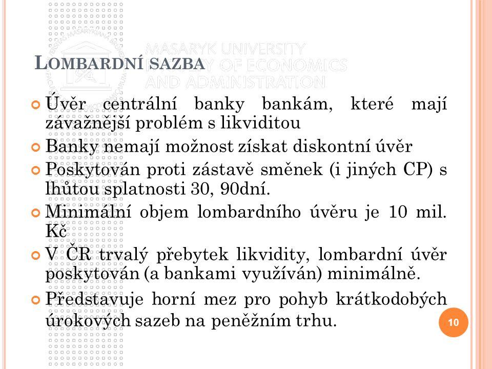 L OMBARDNÍ SAZBA Úvěr centrální banky bankám, které mají závažnější problém s likviditou Banky nemají možnost získat diskontní úvěr Poskytován proti z