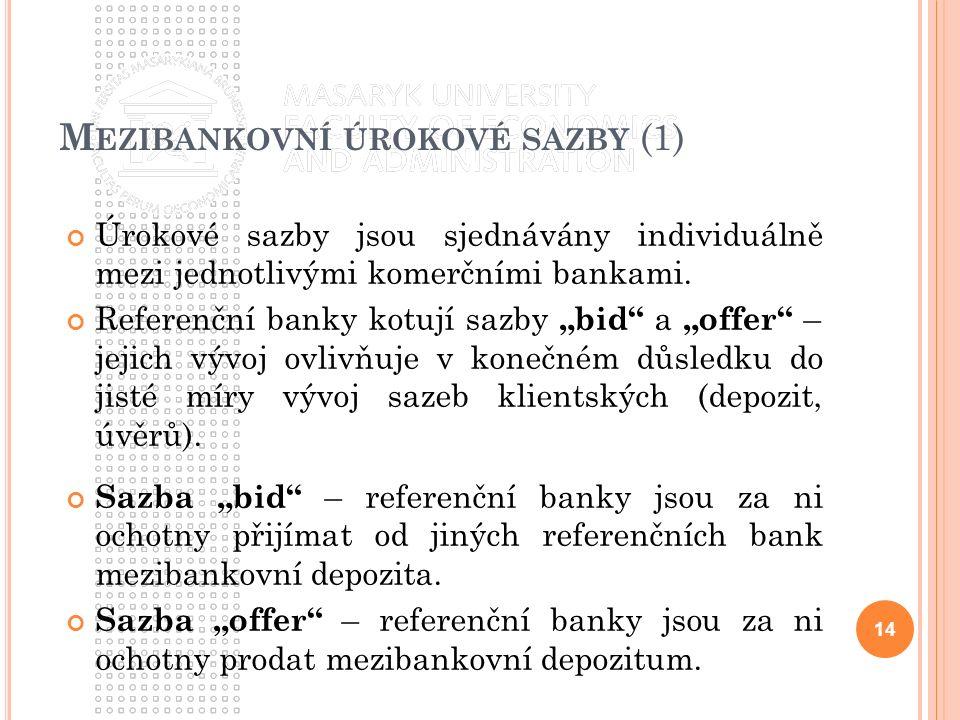 """M EZIBANKOVNÍ ÚROKOVÉ SAZBY (1) Úrokové sazby jsou sjednávány individuálně mezi jednotlivými komerčními bankami. Referenční banky kotují sazby """"bid"""" a"""