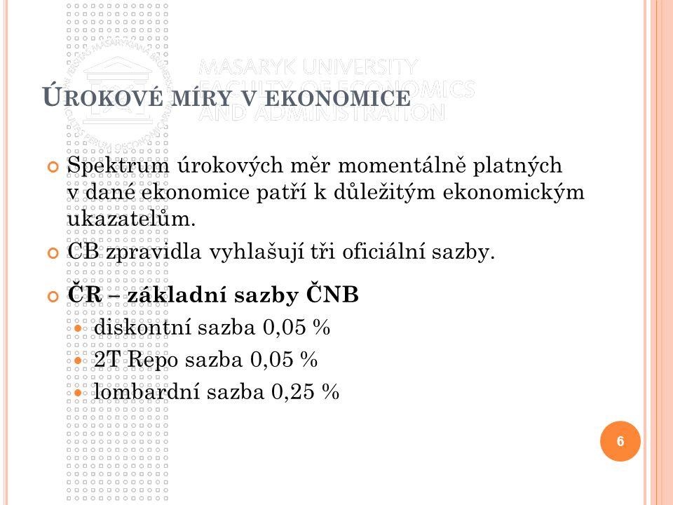 Ú ROKOVÉ MÍRY V EKONOMICE Spektrum úrokových měr momentálně platných v dané ekonomice patří k důležitým ekonomickým ukazatelům.