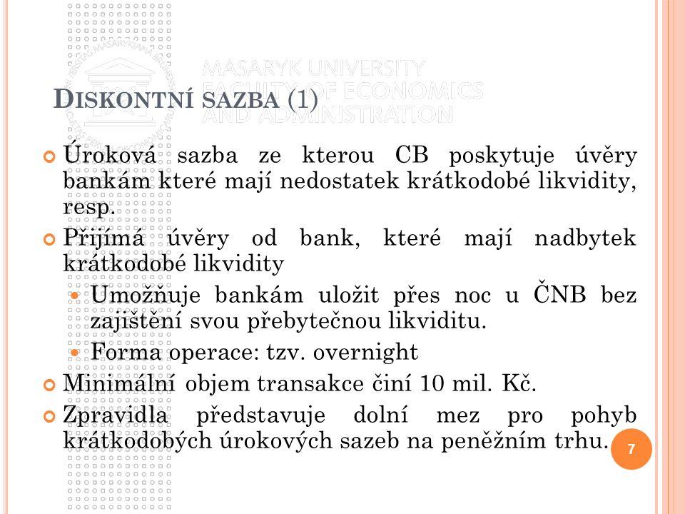 D ISKONTNÍ SAZBA (1) Úroková sazba ze kterou CB poskytuje úvěry bankám které mají nedostatek krátkodobé likvidity, resp. Přijímá úvěry od bank, které