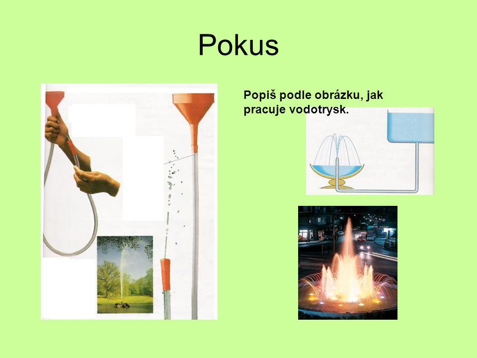 Pokus Popiš podle obrázku, jak pracuje vodotrysk.