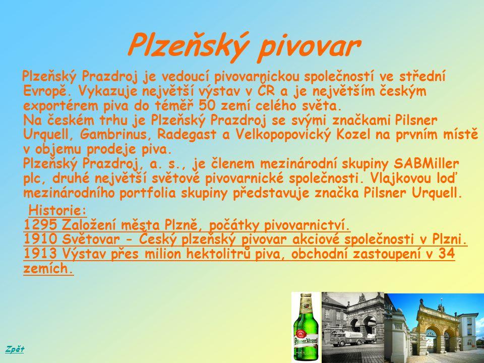 Plzeňský pivovar Plzeňský Prazdroj je vedoucí pivovarnickou společností ve střední Evropě.