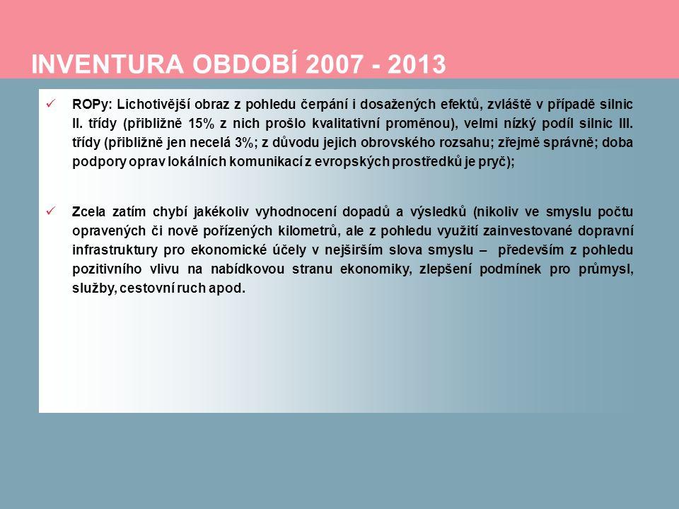 INVENTURA OBDOBÍ 2007 - 2013 ROPy: Lichotivější obraz z pohledu čerpání i dosažených efektů, zvláště v případě silnic II. třídy (přibližně 15% z nich