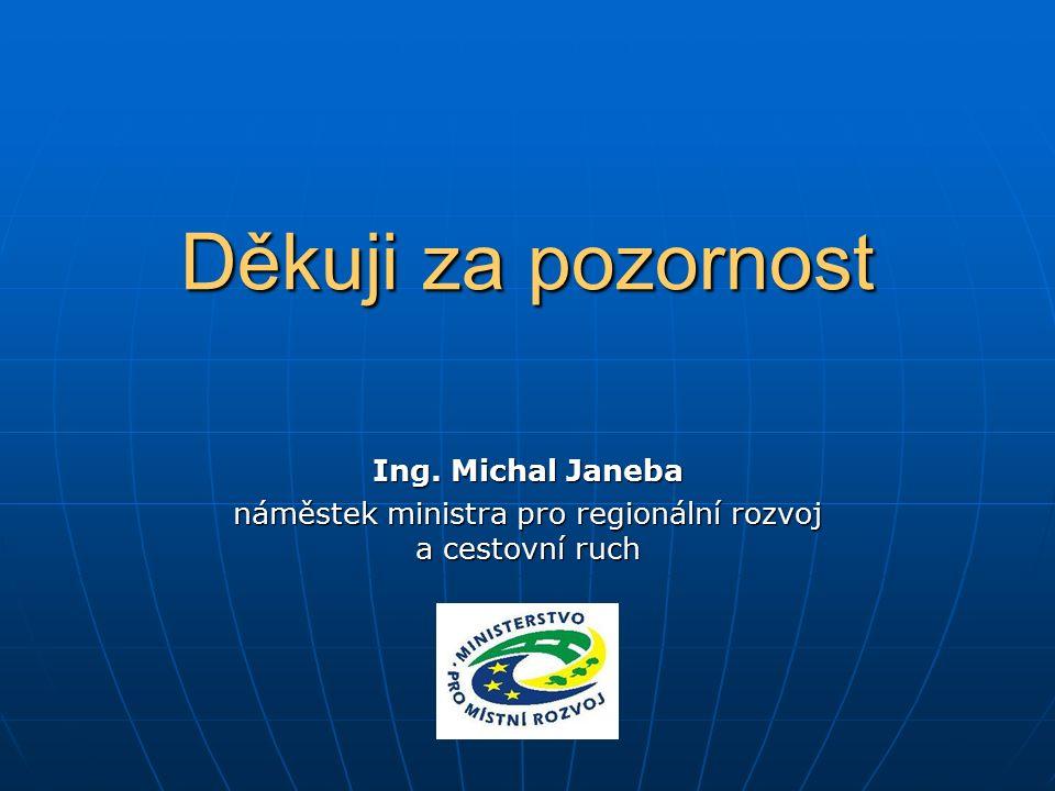 Děkuji za pozornost Ing. Michal Janeba náměstek ministra pro regionální rozvoj a cestovní ruch