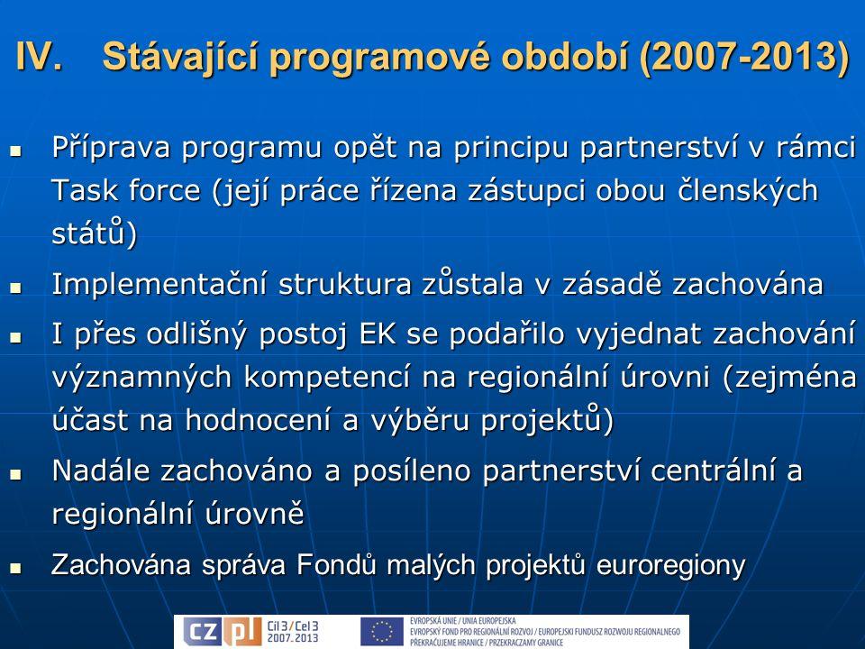 Příprava programu opět na principu partnerství v rámci Task force (její práce řízena zástupci obou členských států) Příprava programu opět na principu partnerství v rámci Task force (její práce řízena zástupci obou členských států) Implementační struktura zůstala v zásadě zachována Implementační struktura zůstala v zásadě zachována I přes odlišný postoj EK se podařilo vyjednat zachování významných kompetencí na regionální úrovni (zejména účast na hodnocení a výběru projektů) I přes odlišný postoj EK se podařilo vyjednat zachování významných kompetencí na regionální úrovni (zejména účast na hodnocení a výběru projektů) Nadále zachováno a posíleno partnerství centrální a regionální úrovně Nadále zachováno a posíleno partnerství centrální a regionální úrovně Zachována správa Fondů malých projektů euroregiony Zachována správa Fondů malých projektů euroregiony IV.Stávající programové období (2007-2013)