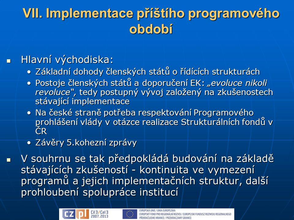 """Hlavní východiska: Hlavní východiska: Základní dohody členských států o řídících strukturáchZákladní dohody členských států o řídících strukturách Postoje členských států a doporučení EK: """"evoluce nikoli revoluce , tedy postupný vývoj založený na zkušenostech stávající implementacePostoje členských států a doporučení EK: """"evoluce nikoli revoluce , tedy postupný vývoj založený na zkušenostech stávající implementace Na české straně potřeba respektování Programového prohlášení vlády v otázce realizace Strukturálních fondů v ČRNa české straně potřeba respektování Programového prohlášení vlády v otázce realizace Strukturálních fondů v ČR Závěry 5.kohezní zprávyZávěry 5.kohezní zprávy V souhrnu se tak předpokládá budování na základě stávajících zkušeností - kontinuita ve vymezení programů a jejich implementačních struktur, další prohloubení spolupráce institucí V souhrnu se tak předpokládá budování na základě stávajících zkušeností - kontinuita ve vymezení programů a jejich implementačních struktur, další prohloubení spolupráce institucí VII."""