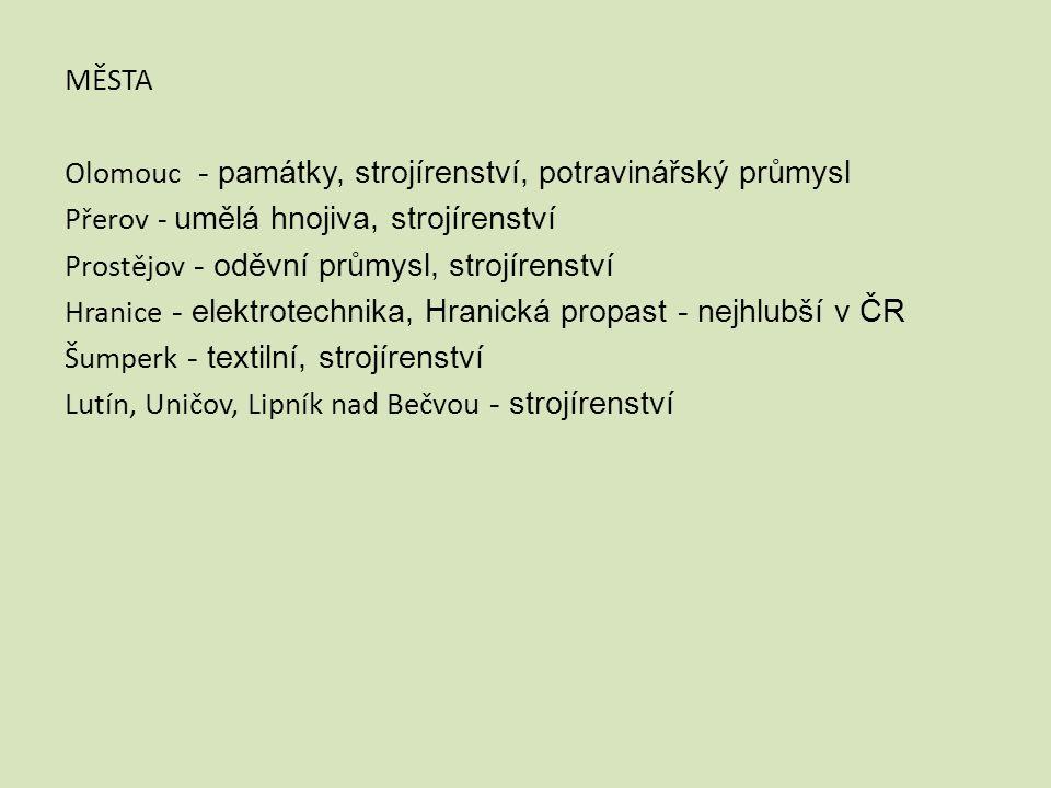 MĚSTA Olomouc - památky, strojírenství, potravinářský průmysl Přerov - umělá hnojiva, strojírenství Prostějov - oděvní průmysl, strojírenství Hranice - elektrotechnika, Hranická propast - nejhlubší v ČR Šumperk - textilní, strojírenství Lutín, Uničov, Lipník nad Bečvou - strojírenství